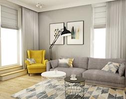 mieszkanie 105m2 z heksagonami - Średni szary biały salon z tarasem / balkonem, styl skandynawski - zdjęcie od Grafika i Projekt architektura wnętrz
