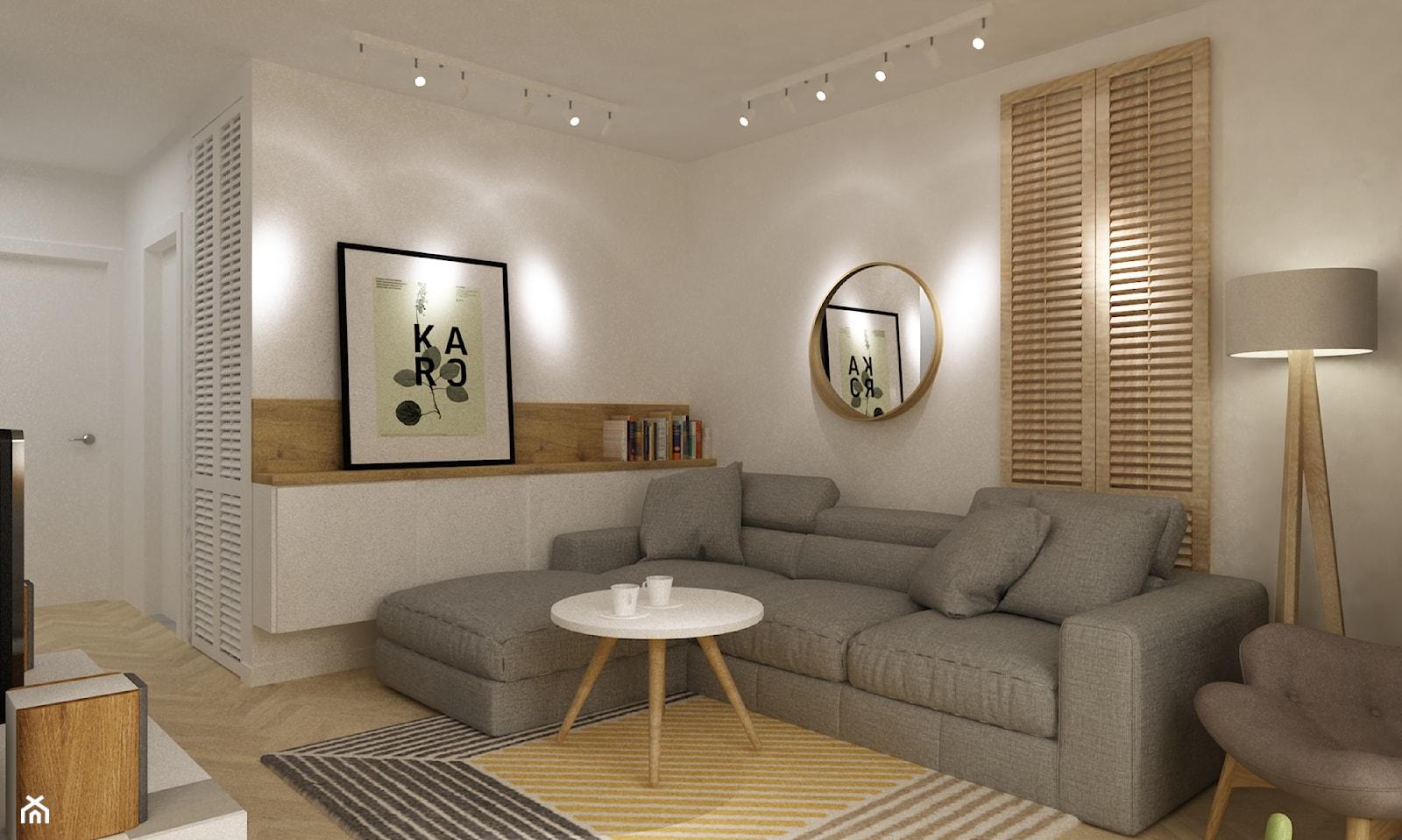 kabaty metamorfoza 60m2 - Średni biały salon, styl skandynawski - zdjęcie od Grafika i Projekt architektura wnętrz - Homebook