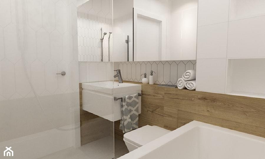 mieszkanie 45 m2 pod biuro/wynajem - Mała biała łazienka na poddaszu w bloku w domu jednorodzinnym bez okna, styl skandynawski - zdjęcie od Grafika i Projekt architektura wnętrz