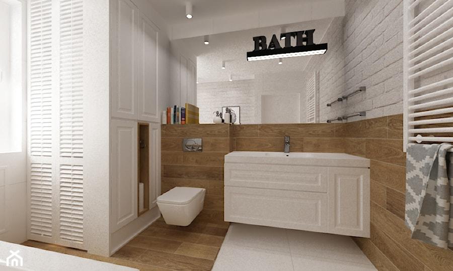 dom Warszawa wawer 170m2 - Średnia łazienka w bloku w domu jednorodzinnym z oknem, styl skandynawski - zdjęcie od Grafika i Projekt architektura wnętrz