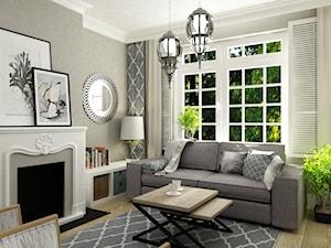 Mały salon 15 m2 w stylu Hampton