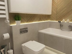 mieszkanie z miętą 80m2 - Średnia beżowa szara łazienka, styl skandynawski - zdjęcie od Grafika i Projekt architektura wnętrz