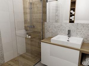 mieszkanie 50m2 w warszawie - Mała biała szara łazienka na poddaszu w bloku w domu jednorodzinnym bez okna, styl skandynawski - zdjęcie od Grafika i Projekt architektura wnętrz