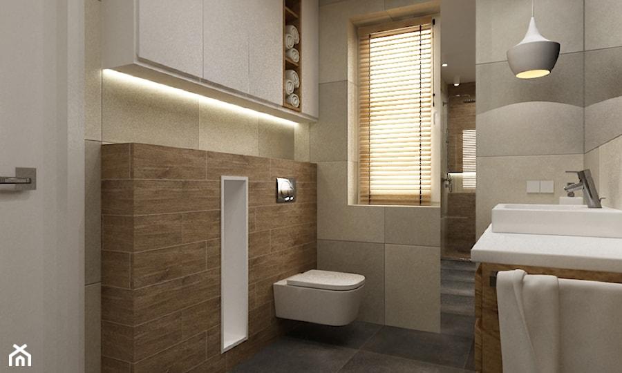 dom ok 100m2 metamorfoza - Mała szara łazienka w bloku z oknem, styl nowoczesny - zdjęcie od Grafika i Projekt architektura wnętrz