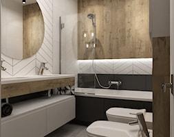 łazienki w stylu skandynawskim - Średnia szara łazienka w bloku w domu jednorodzinnym bez okna, sty ... - zdjęcie od Grafika i Projekt architektura wnętrz - Homebook