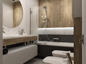 łazienki w stylu skandynawskim - Średnia szara łazienka w bloku w domu jednorodzinnym bez okna, styl nowoczesny - zdjęcie od Grafika i Projekt architektura wnętrz