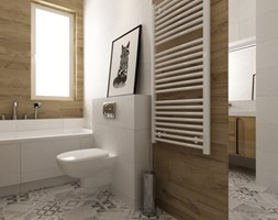 łazienki w stylu skandynawskim - Mała biała łazienka na poddaszu w bloku w domu jednorodzinnym z oknem, styl skandynawski - zdjęcie od Grafika i Projekt architektura wnętrz