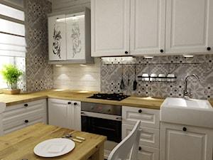 Kuchnia metamorfoza w stylu prowansalsko skandynawskim - Średnia zamknięta biała szara kuchnia w kształcie litery l w aneksie, styl prowansalski - zdjęcie od Grafika i Projekt architektura wnętrz