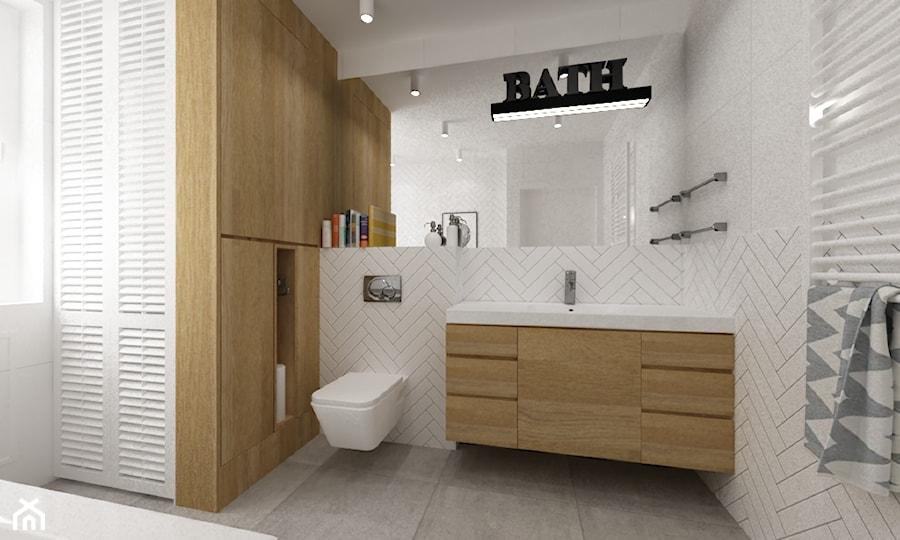 łazienki w stylu skandynawskim - Średnia biała łazienka w bloku w domu jednorodzinnym z oknem, styl skandynawski - zdjęcie od Grafika i Projekt architektura wnętrz