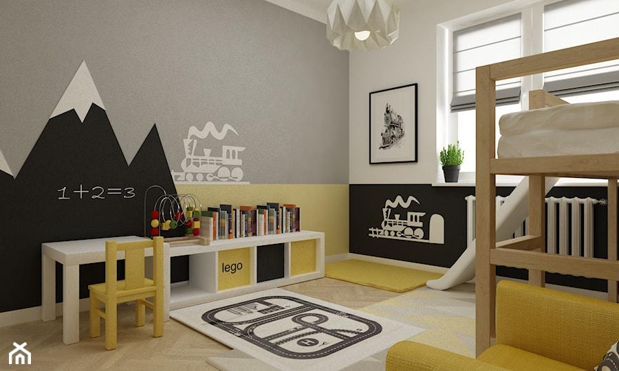 pokój dziecięcy - Średni szary żółty czarny pokój dziecka dla chłopca dla dziewczynki dla malucha, styl skandynawski - zdjęcie od Grafika i Projekt architektura wnętrz