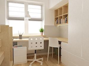pokój dziecięcy - Mały biały szary pokój dziecka dla chłopca dla dziewczynki dla ucznia dla nastolatka, styl skandynawski - zdjęcie od Grafika i Projekt architektura wnętrz