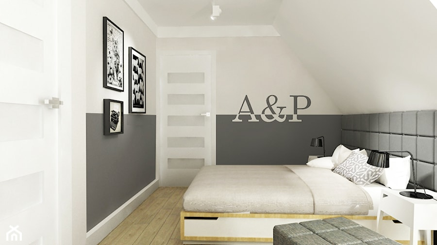 Aranżacje wnętrz - Sypialnia: Dom pod Warszawą 160 m2 - Średnia biała szara sypialnia małżeńska na poddaszu, styl nowoczesny - Grafika i Projekt architektura wnętrz. Przeglądaj, dodawaj i zapisuj najlepsze zdjęcia, pomysły i inspiracje designerskie. W bazie mamy już prawie milion fotografii!