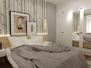 metamorfoza mieszkania 50 m2 w kamienicy - Średnia szara sypialnia małżeńska, styl skandynawski - zdjęcie od Grafika i Projekt architektura wnętrz