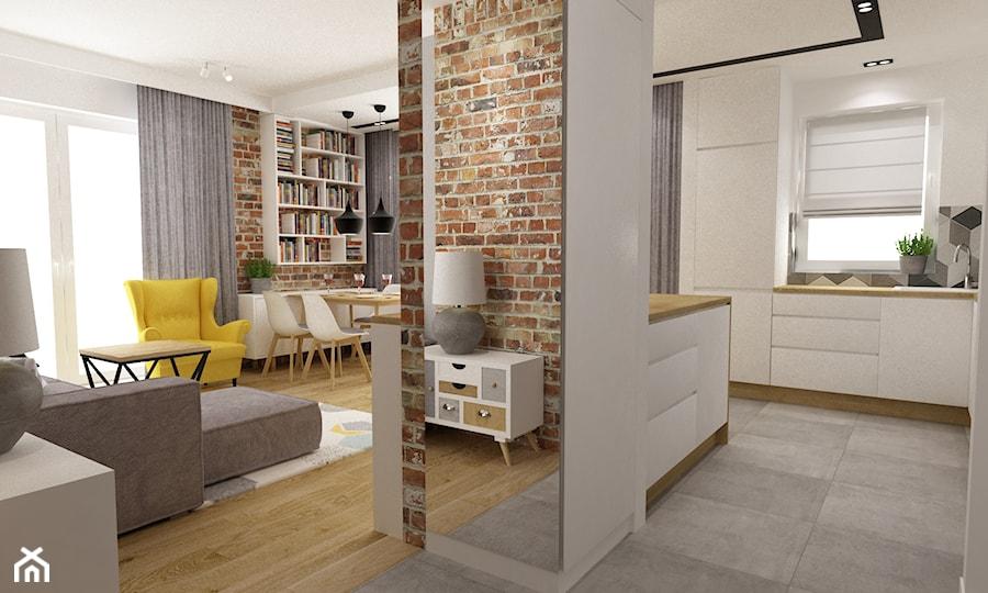 mieszkanie 50m2 w warszawie - Średnia otwarta biała kuchnia w kształcie litery l w aneksie z oknem, styl skandynawski - zdjęcie od Grafika i Projekt architektura wnętrz