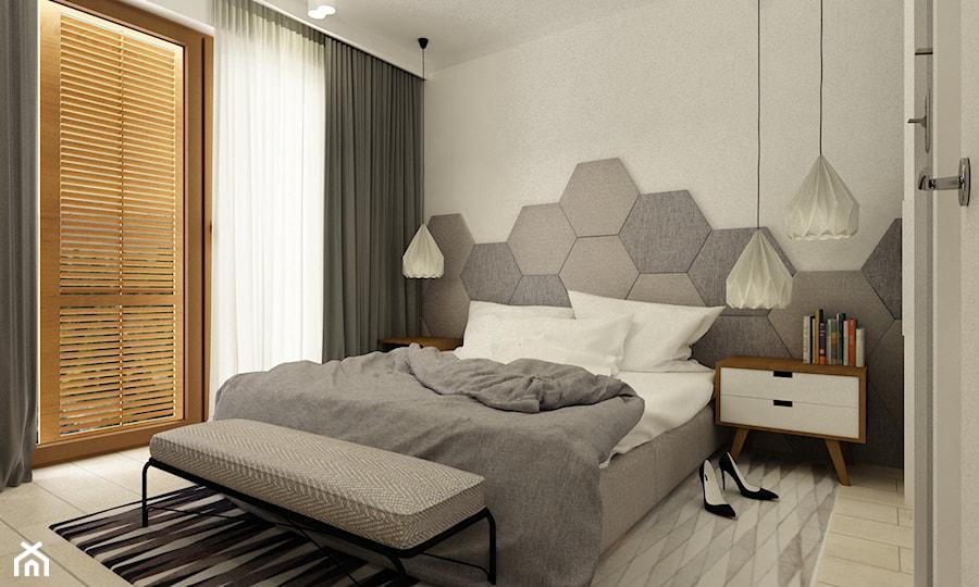 sypialnie nowoczesne - Średnia biała sypialnia małżeńska z balkonem / tarasem, styl minimalistyczny - zdjęcie od Grafika i Projekt architektura wnętrz