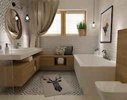 łazienki w stylu skandynawskim - Duża biała szara łazienka w domu jednorodzinnym z oknem, styl skandynawski - zdjęcie od Grafika i Projekt architektura wnętrz