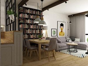 dom Warszawa wawer 170m2 - Średnia otwarta biała jadalnia w kuchni w salonie, styl skandynawski - zdjęcie od Grafika i Projekt architektura wnętrz