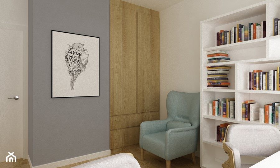 mieszkanie 45 m2 pod biuro/wynajem - Małe szare białe biuro domowe kącik do pracy w pokoju, styl skandynawski - zdjęcie od Grafika i Projekt architektura wnętrz