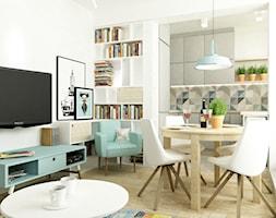 41 m2 pastelowe - Mała otwarta biała kuchnia w kształcie litery u, styl skandynawski - zdjęcie od Grafika i Projekt architektura wnętrz