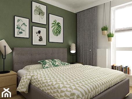 Aranżacje wnętrz - Sypialnia: mieszkanie 70m2 w stylu urban jungle - Średnia biała zielona sypialnia małżeńska, styl skandynawski - Grafika i Projekt architektura wnętrz. Przeglądaj, dodawaj i zapisuj najlepsze zdjęcia, pomysły i inspiracje designerskie. W bazie mamy już prawie milion fotografii!