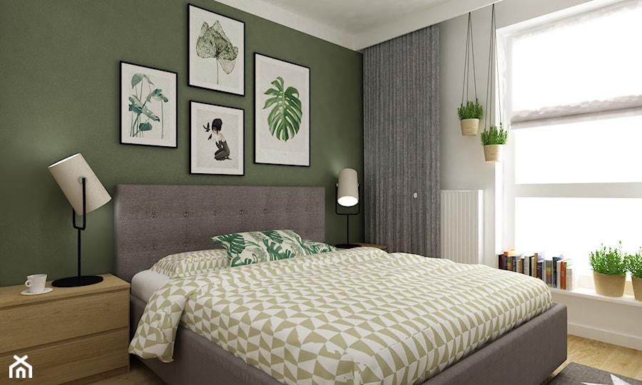 mieszkanie 70m2 w stylu urban jungle - Średnia biała zielona sypialnia małżeńska, styl skandynawski - zdjęcie od Grafika i Projekt architektura wnętrz
