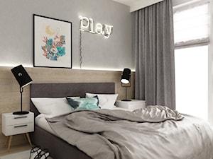 mieszkanie 68m2 w stylu duńskim - Mała sypialnia małżeńska, styl skandynawski - zdjęcie od Grafika i Projekt architektura wnętrz