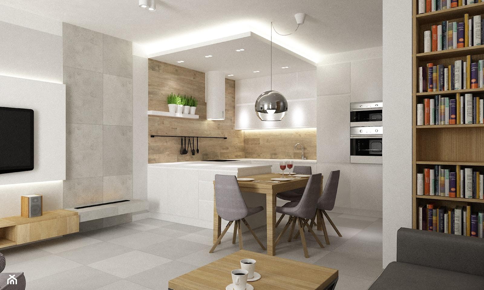 Mieszkanie 70m2 Ursynów - Mała otwarta biała beżowa szara kuchnia w kształcie litery g w aneksie z wyspą, styl nowoczesny - zdjęcie od Grafika i Projekt architektura wnętrz - Homebook