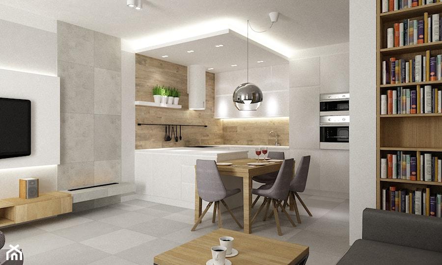 Mieszkanie 70m2 Ursynów - Mała otwarta biała beżowa szara kuchnia w kształcie litery g w aneksie z wyspą, styl nowoczesny - zdjęcie od Grafika i Projekt architektura wnętrz