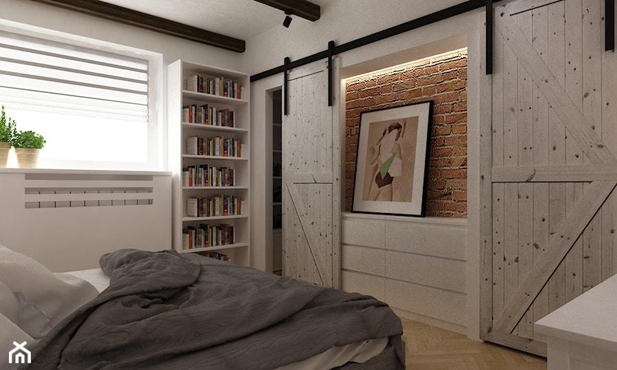 projekty pojedynczych pomieszczeń - Średnia biała sypialnia małżeńska z garderobą, styl skandynawski - zdjęcie od Grafika i Projekt architektura wnętrz