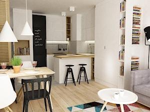 Mieszkanie 2 pokojowe na Woli aktualnie dla 2+1,docelowo pod wynajem - Średnia otwarta biała kuchnia w kształcie litery u w aneksie z wyspą, styl skandynawski - zdjęcie od Grafika i Projekt architektura wnętrz
