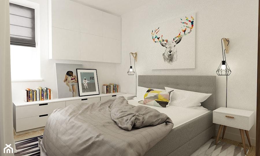 Mieszkanie na Woli Warszawa 54m2 - Mała biała sypialnia małżeńska, styl skandynawski - zdjęcie od Grafika i Projekt architektura wnętrz