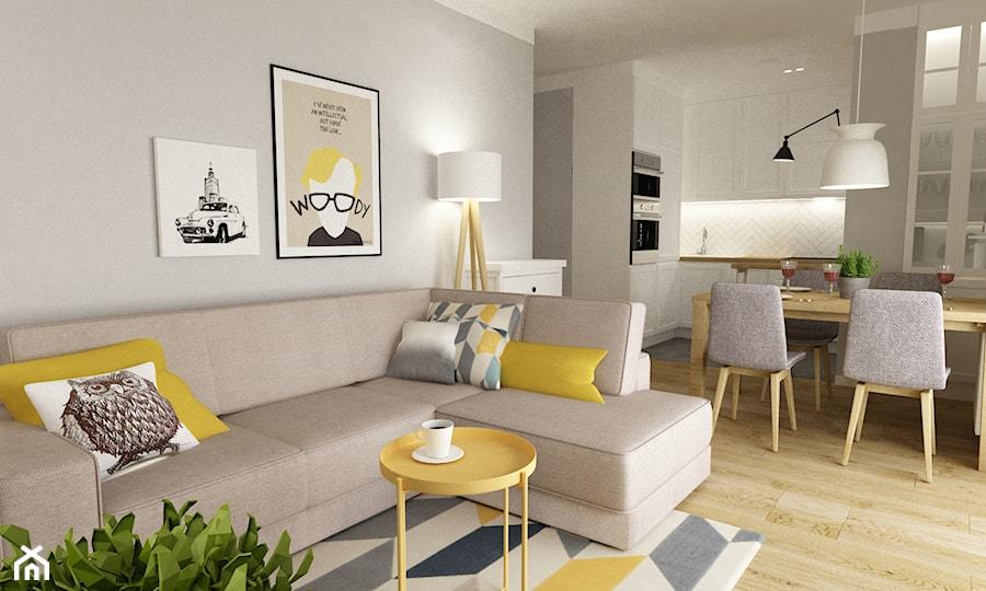 mieszkanie na wawrze 54m2 - Średni szary beżowy salon z kuchnią z jadalnią, styl skandynawski - zdjęcie od Grafika i Projekt architektura wnętrz