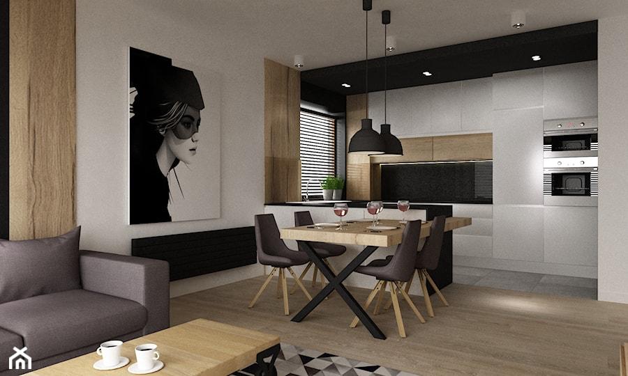 apartament mokotów 90m2 - Średnia otwarta biała jadalnia w salonie, styl nowoczesny - zdjęcie od Grafika i Projekt architektura wnętrz