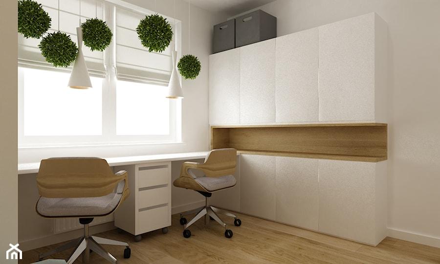 mieszkanie 45 m2 pod biuro/wynajem - Średnie białe biuro kącik do pracy, styl skandynawski - zdjęcie od Grafika i Projekt architektura wnętrz