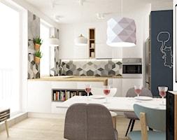 mieszkanie 68m2 w stylu duńskim - Mała kuchnia w kształcie litery g w aneksie z wyspą, styl skandynawski - zdjęcie od Grafika i Projekt architektura wnętrz