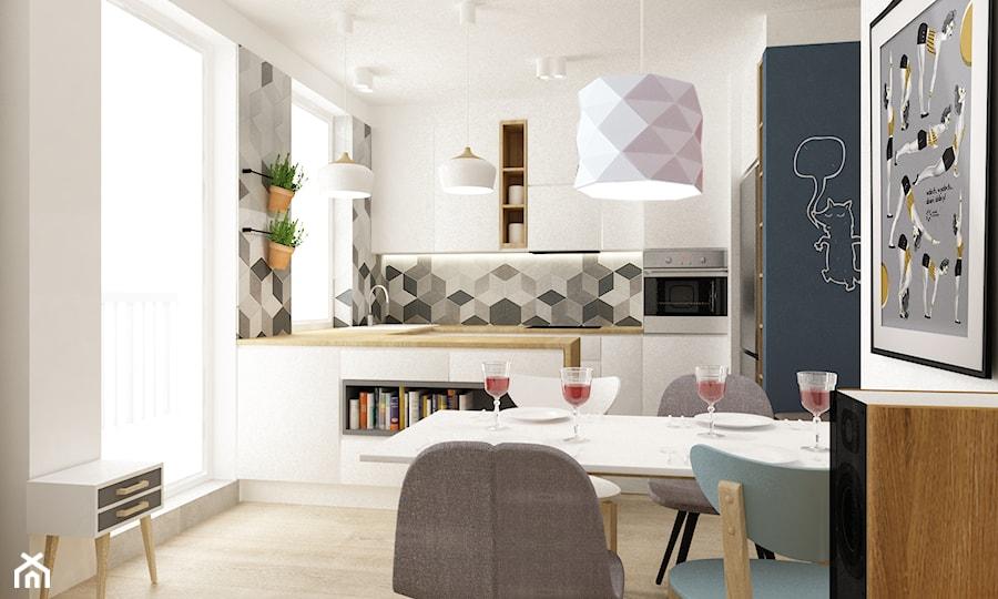 mieszkanie 68m2 w stylu duńskim  Mała kuchnia w kształcie   -> Mala Kuchnia W Bloku Z Salonem