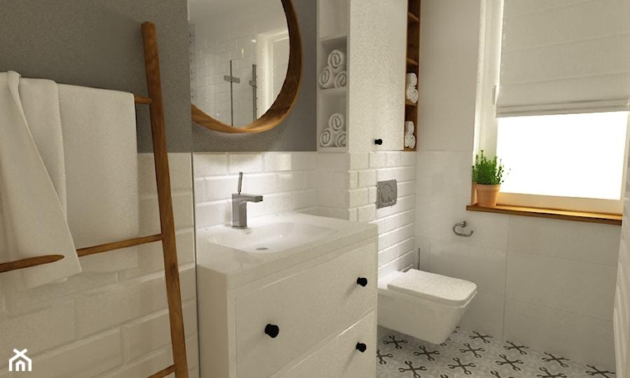 dom 120 m2 bemowo - Mała łazienka z oknem, styl eklektyczny - zdjęcie od Grafika i Projekt ...