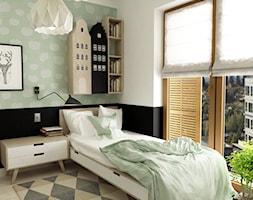 pokój dziecięcy - Średni pastelowy miętowy czarny pokój dziecka dla dziewczynki dla nastolatka, styl nowoczesny - zdjęcie od Grafika i Projekt architektura wnętrz