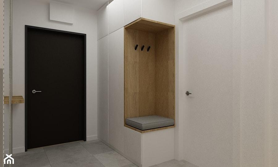 kabaty metamorfoza 60m2 - Średni biały hol / przedpokój, styl skandynawski - zdjęcie od Grafika i Projekt architektura wnętrz