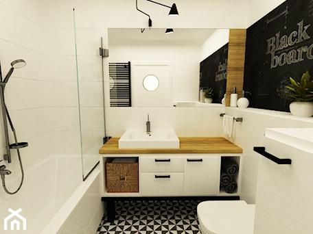 Aranżacje wnętrz - Łazienka: łazienki w stylu skandynawskim - Łazienka, styl skandynawski - Grafika i Projekt architektura wnętrz. Przeglądaj, dodawaj i zapisuj najlepsze zdjęcia, pomysły i inspiracje designerskie. W bazie mamy już prawie milion fotografii!