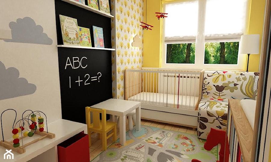 pokój dziecięcy - Mały biały czarny pokój dziecka dla chłopca dla dziewczynki dla niemowlaka, styl skandynawski - zdjęcie od Grafika i Projekt architektura wnętrz