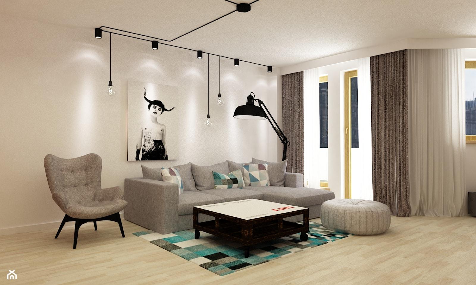 Apartament w Warszawie 90 m2 starzona cegła styl industrialny loft - Duży biały salon z tarasem / balkonem, styl skandynawski - zdjęcie od Grafika i Projekt architektura wnętrz - Homebook