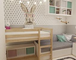 pokój dziecięcy - Mały szary pokój dziecka dla dziewczynki dla nastolatka, styl skandynawski - zdjęcie od Grafika i Projekt architektura wnętrz