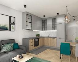mieszkanie 40m2 lekko industrialne - Średnia otwarta biała kuchnia w kształcie litery l w aneksie, styl industrialny - zdjęcie od Grafika i Projekt architektura wnętrz