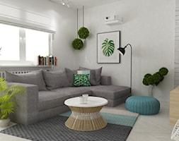 mieszkanie z akcentem turkusu metamorfoza - Mały szary beżowy salon, styl skandynawski - zdjęcie od Grafika i Projekt architektura wnętrz
