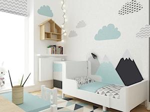 pokój dziecięcy - Średni szary pokój dziecka dla chłopca dla malucha, styl skandynawski - zdjęcie od Grafika i Projekt architektura wnętrz