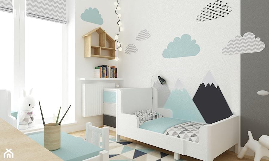 Aranżacje wnętrz - Pokój dziecka: pokój dziecięcy - Średni szary pokój dziecka dla chłopca dla malucha, styl skandynawski - Grafika i Projekt architektura wnętrz. Przeglądaj, dodawaj i zapisuj najlepsze zdjęcia, pomysły i inspiracje designerskie. W bazie mamy już prawie milion fotografii!