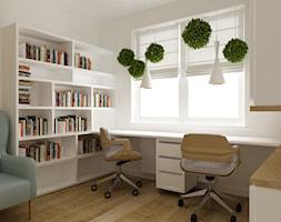 mieszkanie 45 m2 pod biuro/wynajem - Małe białe biuro domowe kącik do pracy w pokoju, styl skandynawski - zdjęcie od Grafika i Projekt architektura wnętrz