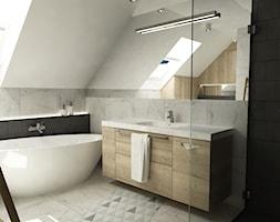 łazienki w stylu skandynawskim - Średnia duża łazienka na poddaszu w domu jednorodzinnym jako salon kąpielowy z oknem, styl skandynawski - zdjęcie od Grafika i Projekt architektura wnętrz