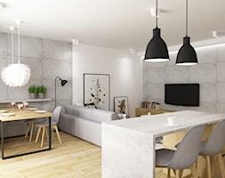 mieszkanie 80m2 metamorfoza - Średnia otwarta biała jadalnia w salonie, styl industrialny - zdjęcie od Grafika i Projekt architektura wnętrz